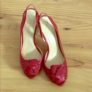 Anne Klein New York red leather peep toe heels